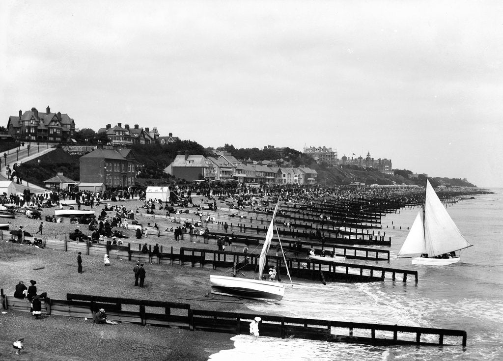 Detail of The beach and promenade at Felixstowe, looking towards the Felix Hotel and Cobbolds Point by Marine Photo Service