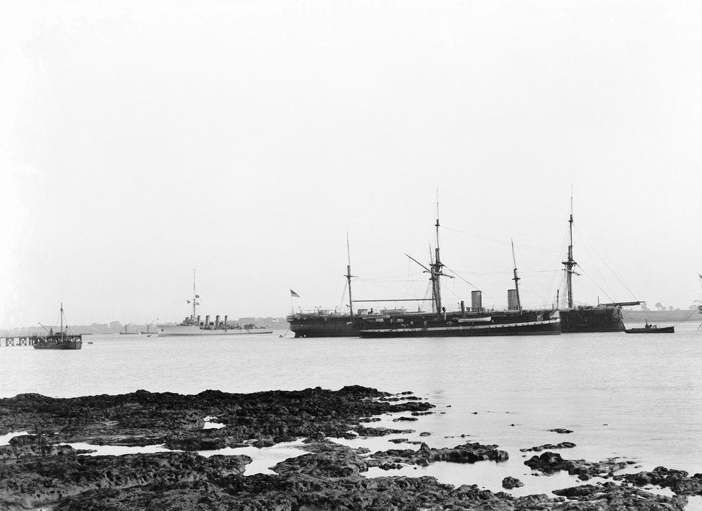Detail of A view from Shotley with 'Adventure' (1904) and 'Ganges', ex 'Caroline' (1882) and 'Ganges II', ex 'Minotaur' (1863) at moorings by Smiths Suitall Ltd.
