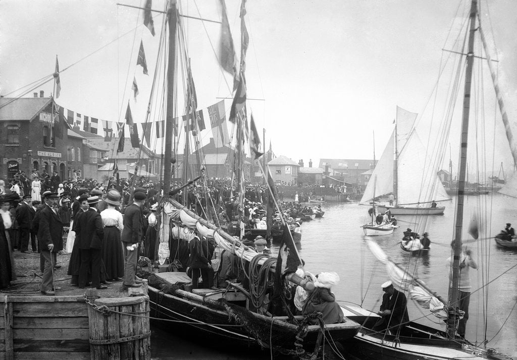 Detail of A view across Pearson's Quay along the shore of the River Colne at Rowhedge during an unidentified festival by Smiths Suitall Ltd.