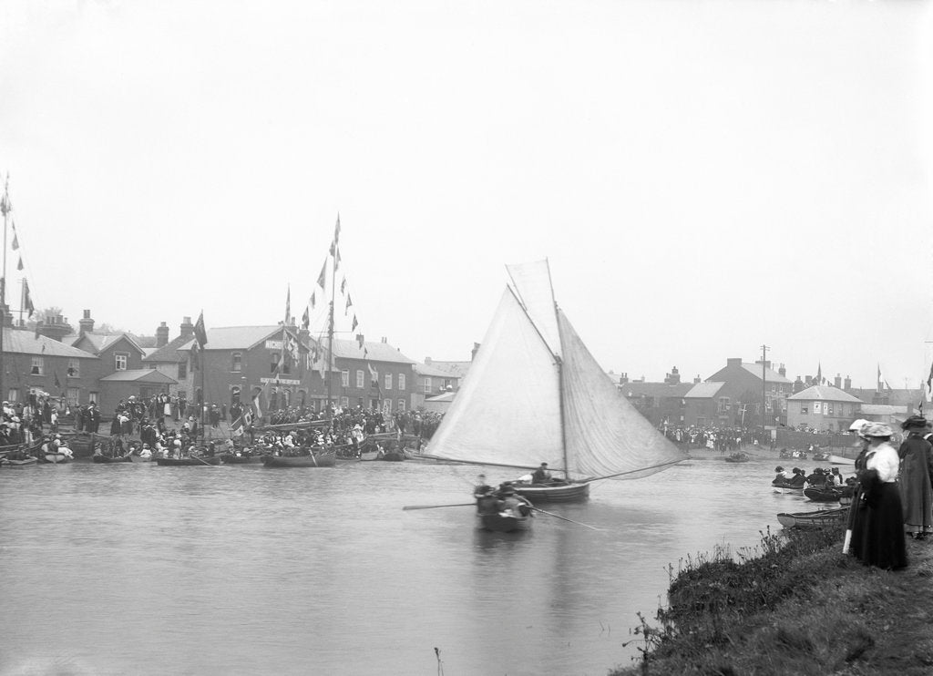 Detail of A view of the quay at Rowhedge during an unidentified festival, taken from the Wivenhoe side of the River Colne by Smiths Suitall Ltd.