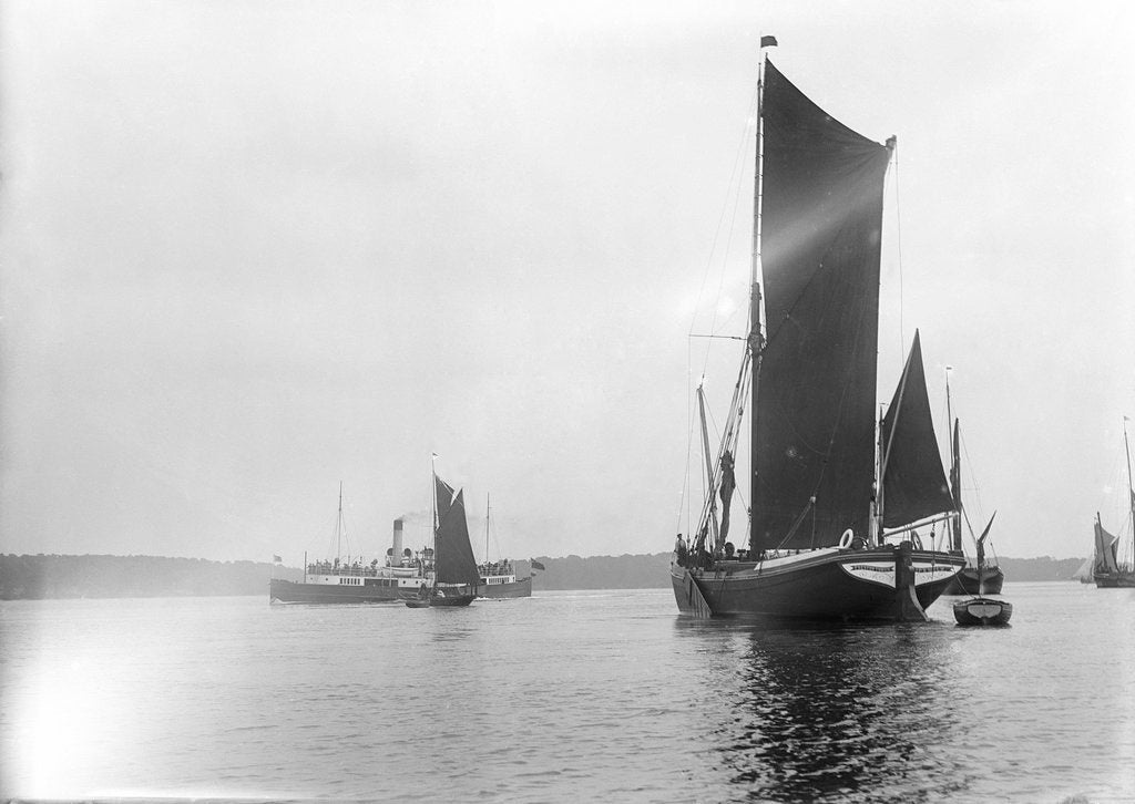 Detail of A view across the River Orwell from near Pin Mill with the spritsail barge 'Freston Tower' (1889) in the foreground by Smiths Suitall Ltd.