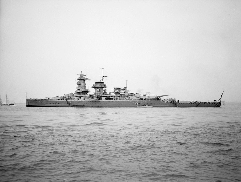 Detail of 'Admiral Graf Spee' (Ge, 1934), anchored at Spithead for the Coronation Review of King George VI by unknown