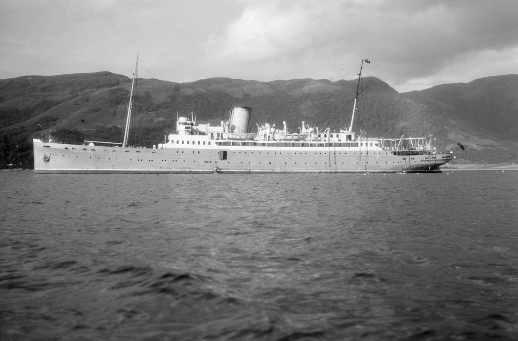 Detail of A passenger short sea steamer 'Lady Killarney' (Br, 1912) at anchor off Ballachulish, 1947-1956 by Anonymous