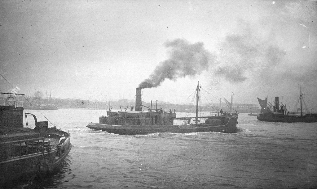 Detail of A starboard quarter view of 'Bullfinch' (1903) under way on the River Thames passing Woolwich by unknown