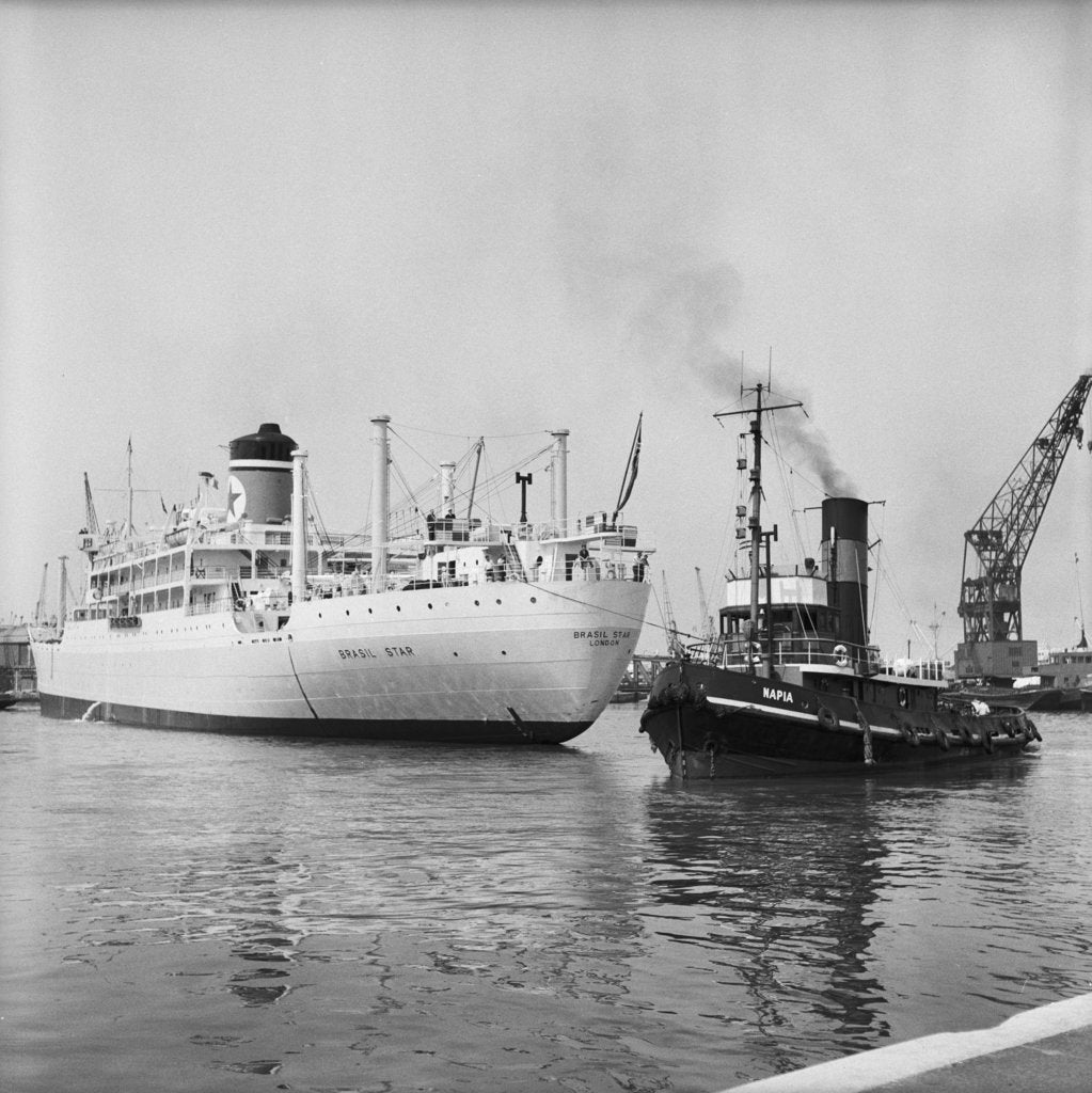 Detail of The 'Brasil Star' and the tug Napia by Grierson