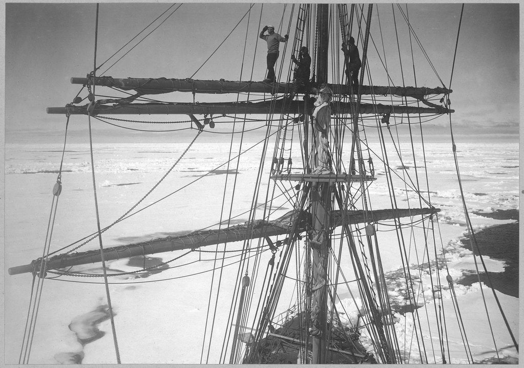Detail of In the ice-pack, from the main-top of the 'Terra Nova' (1884) (Gran, Taylor & Wright on yard) by Herbert George Ponting