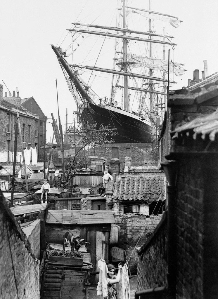 Detail of 3-masted barque 'Penang' in dry dock at Millwall 1932 by unknown