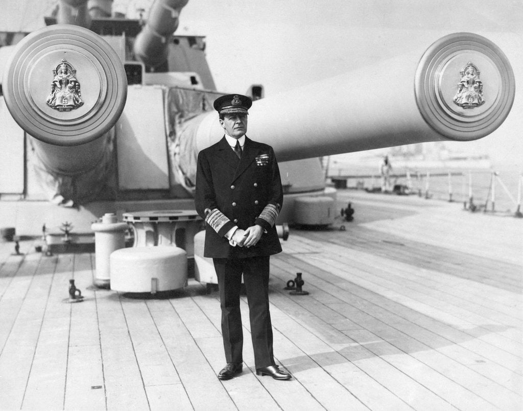 Detail of Earl David Beatty standing on the quarterdeck of his flagship, HMS 'Queen Elizabeth' as Admiral of the Fleet. by unknown