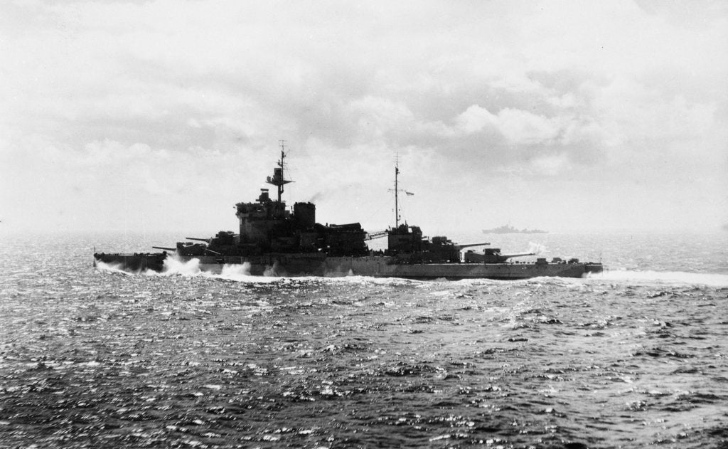 Detail of Battleship HMS 'Warspite' (1913) under way at sea off Cape Wrath in June 1943 by unknown