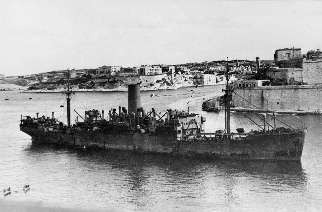 Detail of 'Ajax' (Br, 1931) under way in Grand Harbour, Malta, arriving in convoy MW 8A by unknown