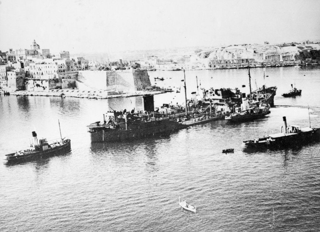 Detail of Tanker 'Ohio' (Br, 1940) under tow in Grand Harbour, Malta, with heavy damage received during Operation Pedestal by unknown
