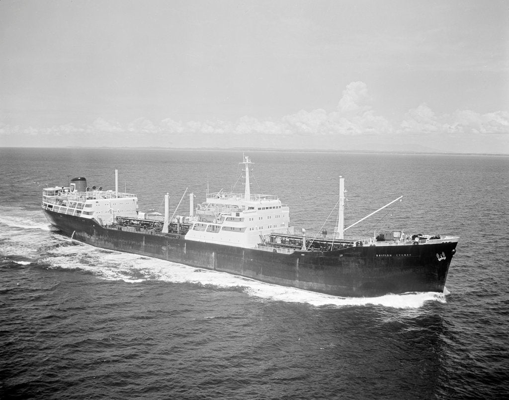 Detail of 'British Cygnet' (Br, 1962) under way in the Strait of Malacca by unknown