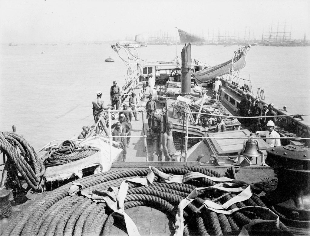 Detail of View of deck from foc'sle of Bengal Pilot brig 'Fame' (Br, 1889) by unknown