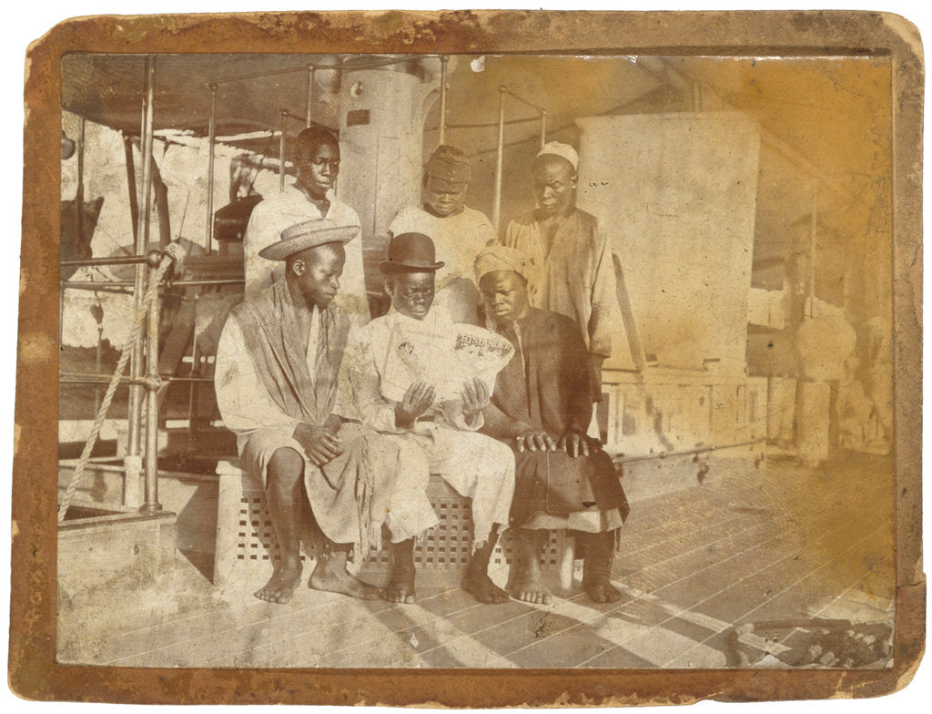 Detail of African crewmen aboard paddle-wheel special service vessel HMS 'Sphinx' (1882) by unknown