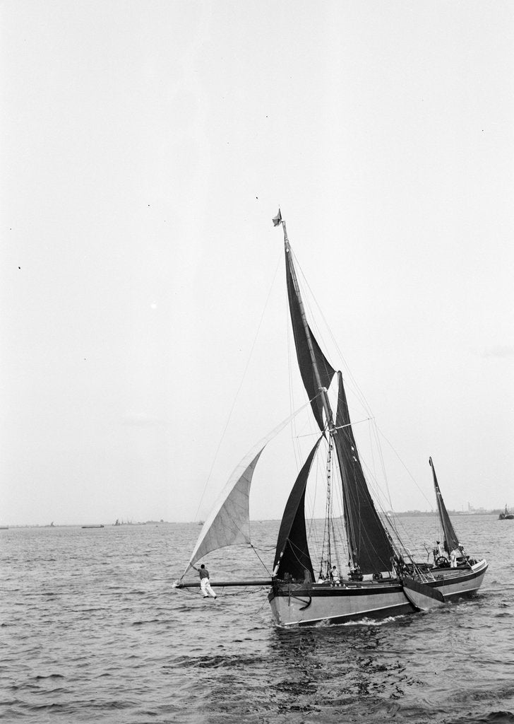 Detail of 'Sara' (Br, 1902) under sail during Thames barge race by unknown
