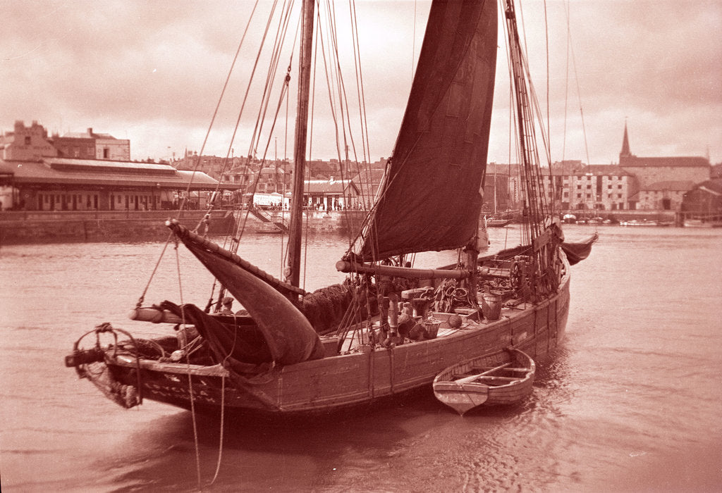 Detail of Photograph of 'Erycina' (1882) under sail in September 1934 off the Barbican, Plymouth by H Oliver Hill