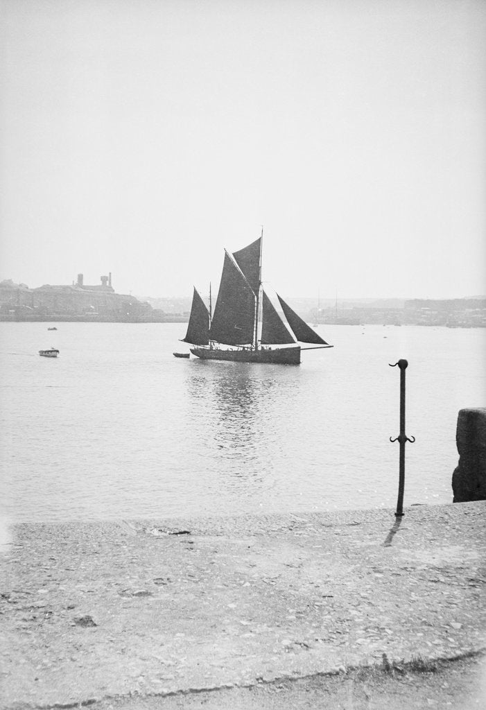 Detail of Photograph of the 'Erycina' (1882) under sail in Plymouth harbour in September 1934 by unknown