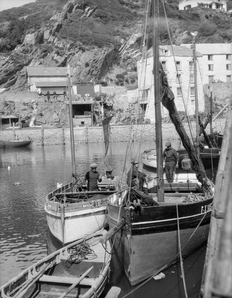 Detail of 'Marion' Polperro gaffer, in Polperro harbour by unknown