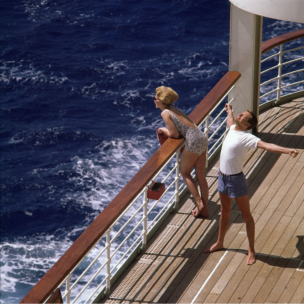 Detail of Out on deck for fresh air and a good stretch by unknown