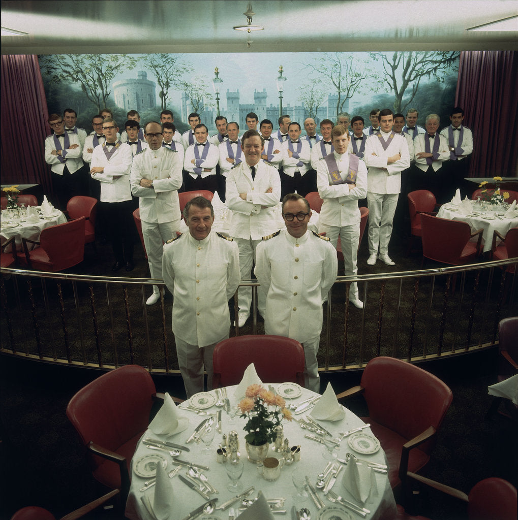 Detail of The restaurant staff on the Union-Castle cruise ship 'Windsor Castle' gather for a group photograph by Marine Photo Service