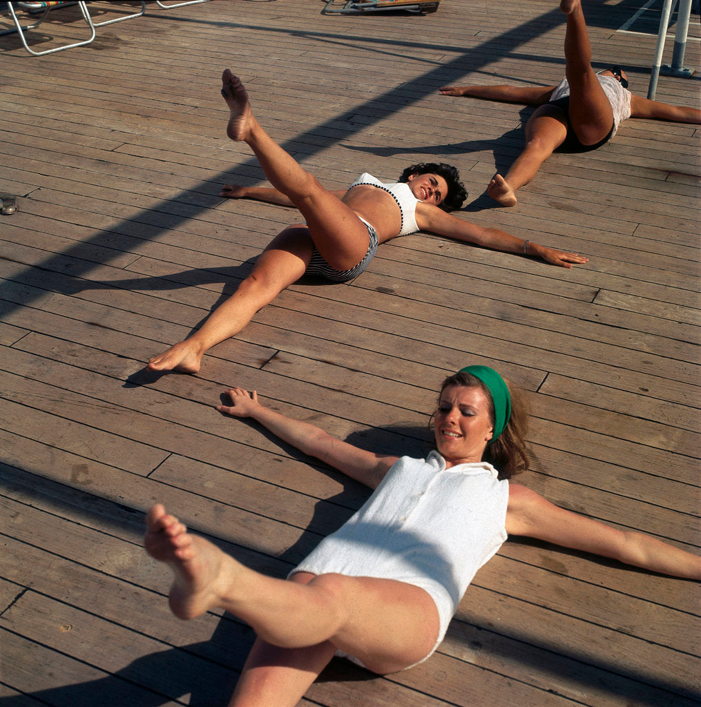 Detail of Keep fit class on deck aboard a Union-Castle ship by Marine Photo Service