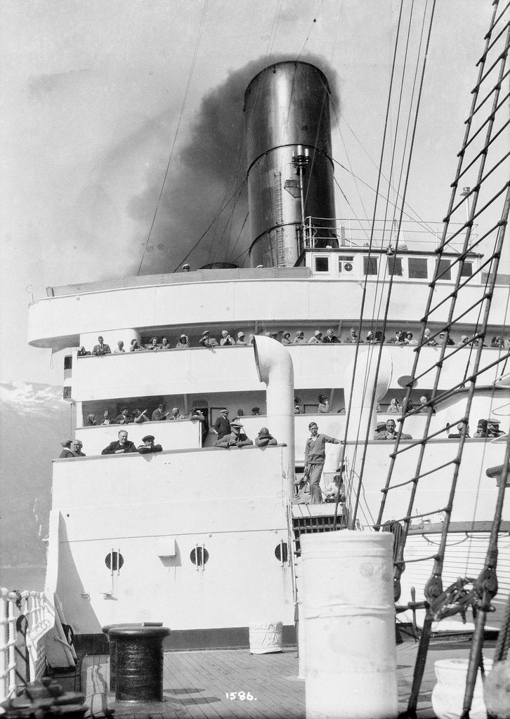 Detail of Decks and funnel view of 'Caronia' by Marine Photo Service