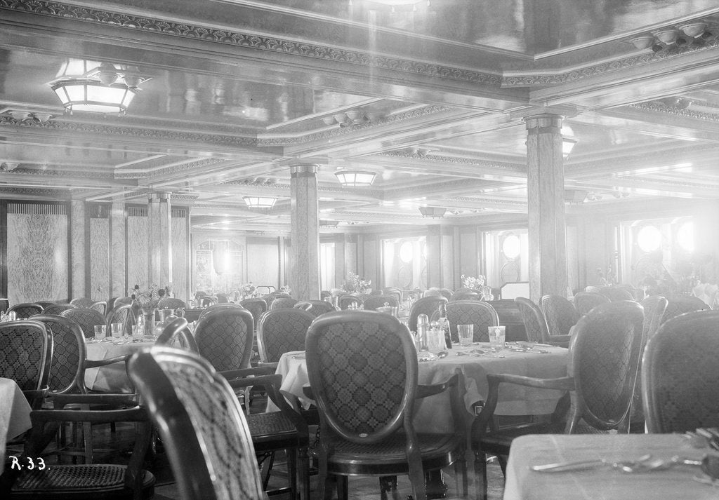 Detail of First-class dining salon aboard the 'Viceroy of India' by Marine Photo Service