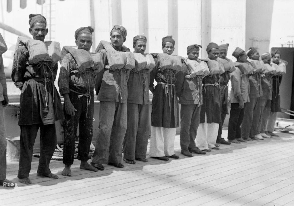 Detail of Crew wearing life jackets aboard the P&O passenger/cargo liner 'Viceroy of India' (Br, 1929) by unknown