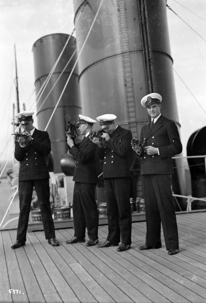 Detail of Four P & O cadets of the 'Viceroy of India' (1929) on the starboard side of the Bridge Deck with their sextants by Marine Photo Service