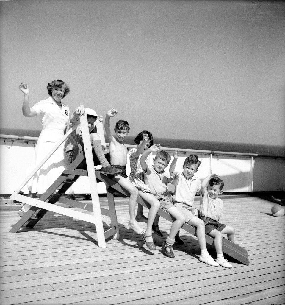 Detail of Children's hostess and junior passengers aboard 'Chusan' by Marine Photo Service