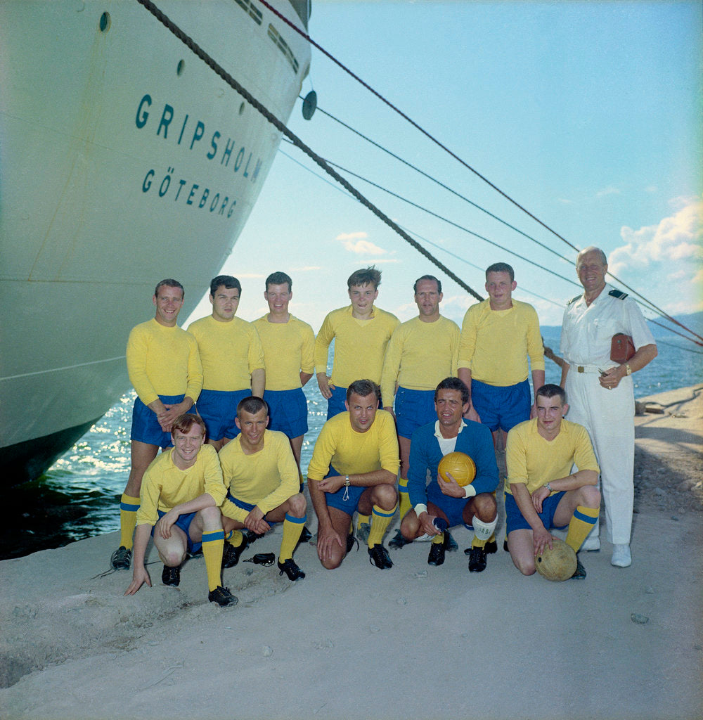 Detail of The 'Gripsholm's' crew football team by Marine Photo Service