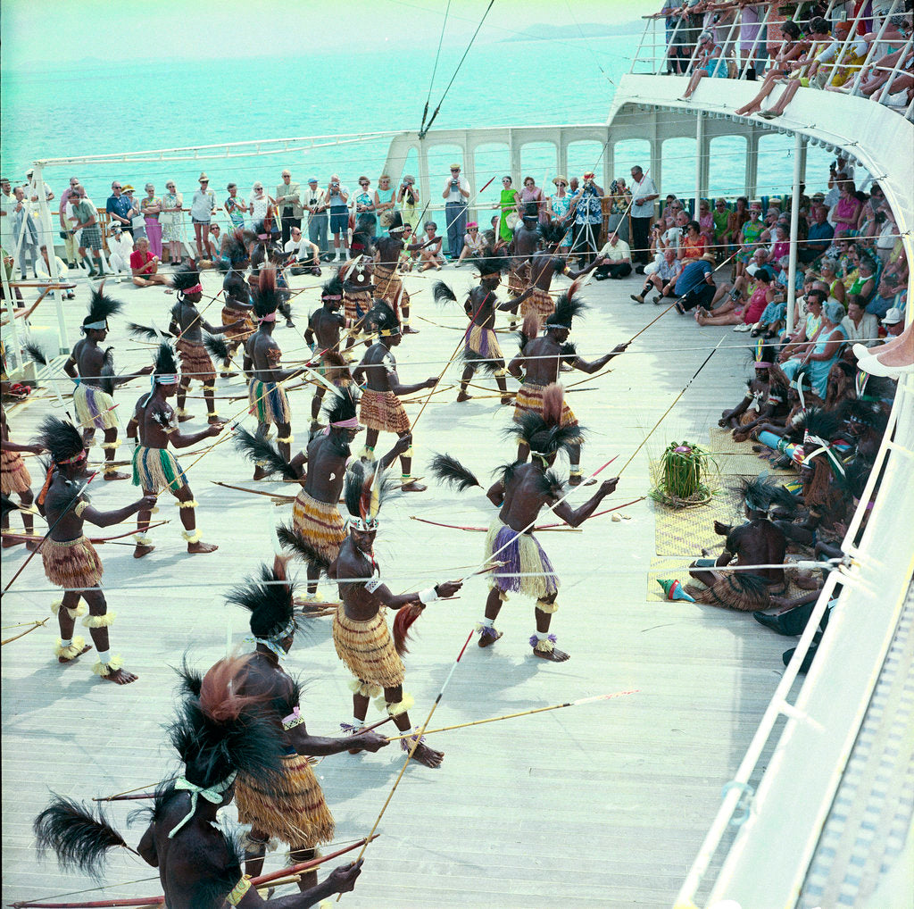 Detail of Local dancers from Roratonga, Cook Islands performing aboard the 'Kungsholm' by Marine Photo Service