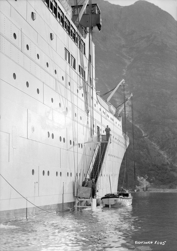 Detail of 'Gripsholm' at anchor in Eidfjord, Norway by Marine Photo Service