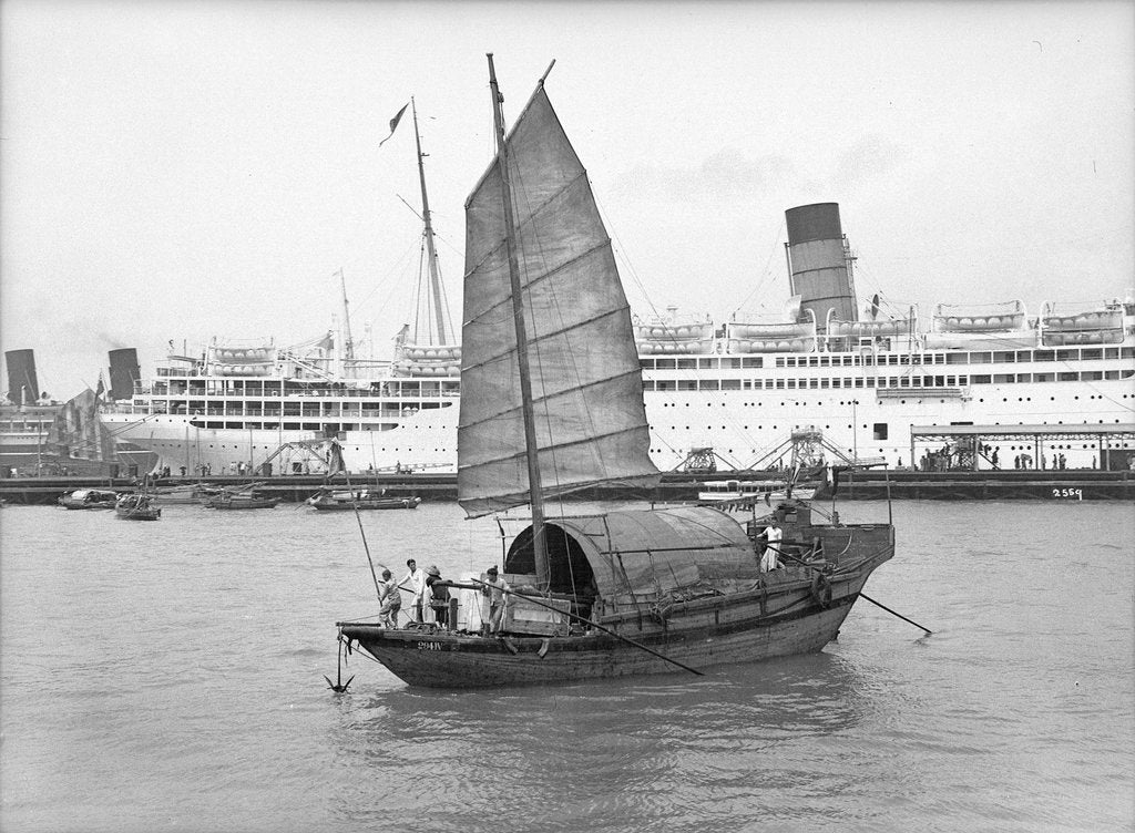 Detail of A junk in Hong Kong harbour, 1933 by Marine Photo Service