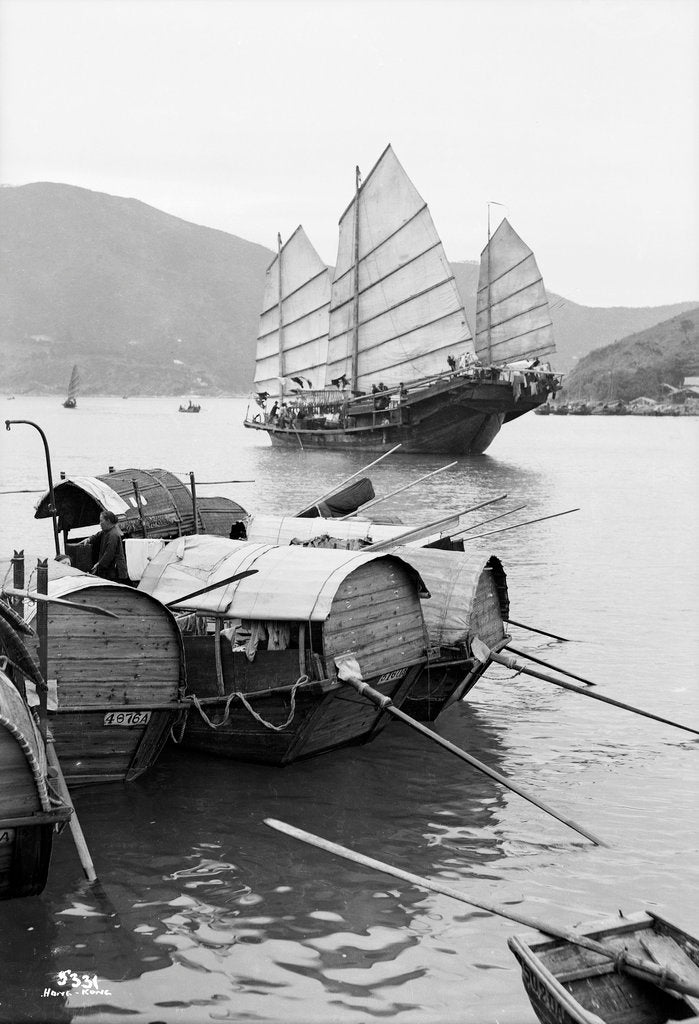 Detail of Sampans and a fishing junk, Hong Kong, 1935 by Marine Photo Service