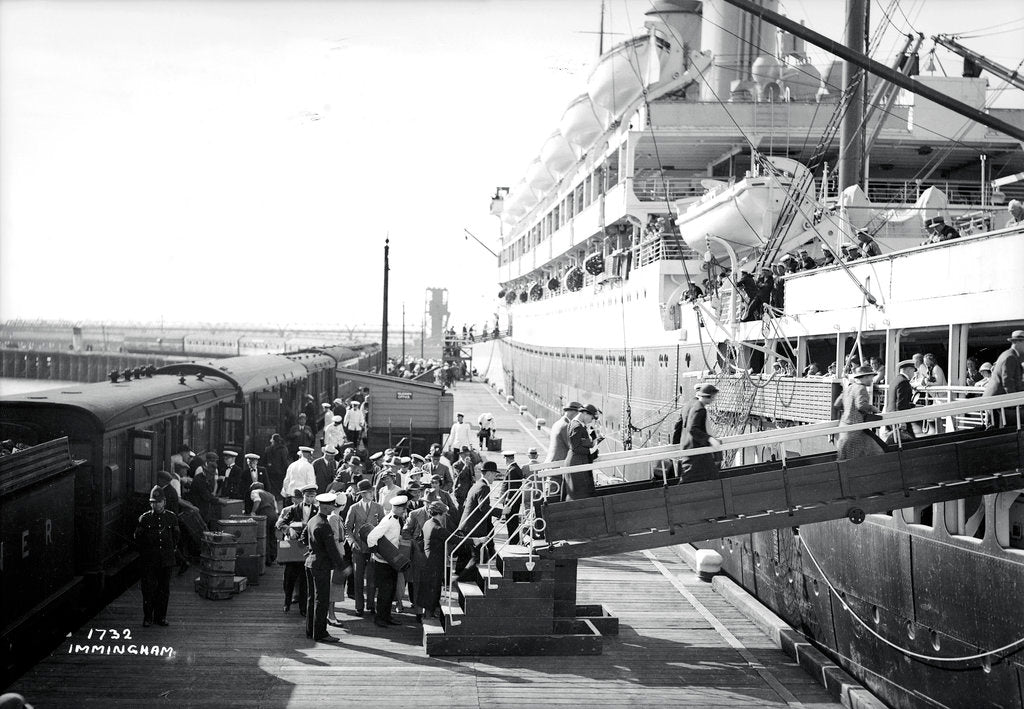 Detail of Passengers boarding the 'Orontes' at Immingham Dock, Humberside, England by Marine Photo Service