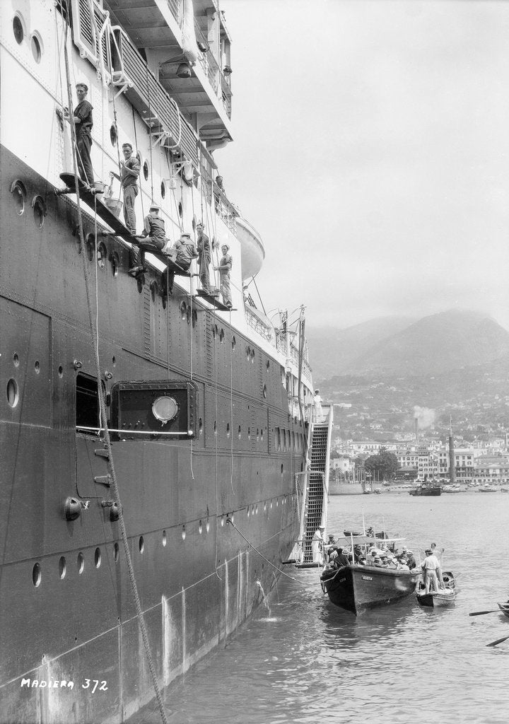Detail of Crews painting the 'Orontes' at Madeira by Marine Photo Service
