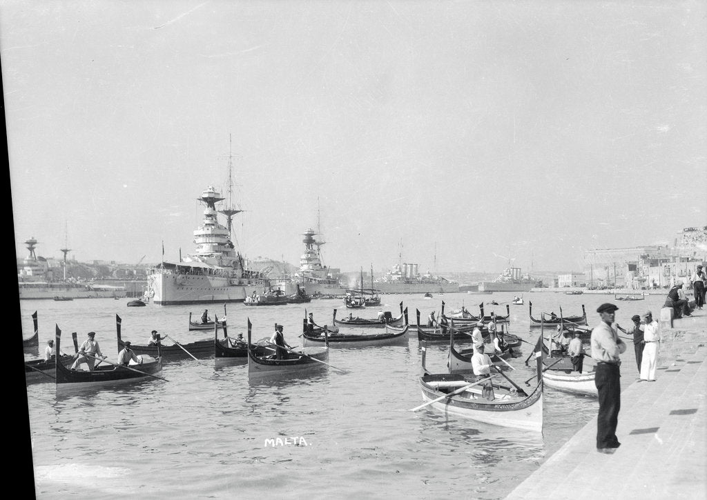 Detail of Dghajsas in Grand Harbour, Valletta, Malta, 1931 by Marine Photo Service