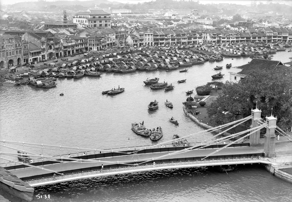 Detail of Boat Quay, across the Singapore River, featuring rows of traditional Indian shophouses by Marine Photo Service