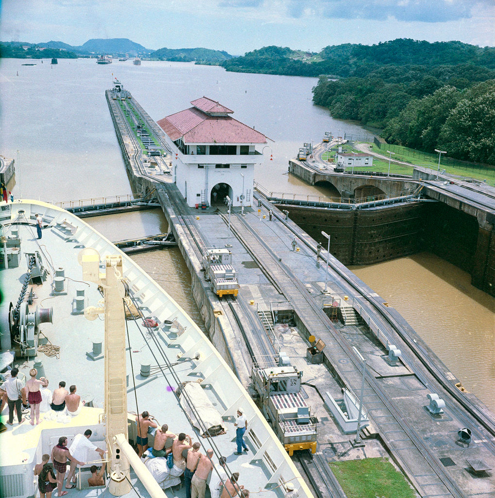 Detail of A view from the bridge of 'Gripsholm' (1957) or 'Kungsholm' (1966) of the Pedro Miguel Lock, Panama Canal, with the Miraflores Lock in the background. by Marine Photo Service