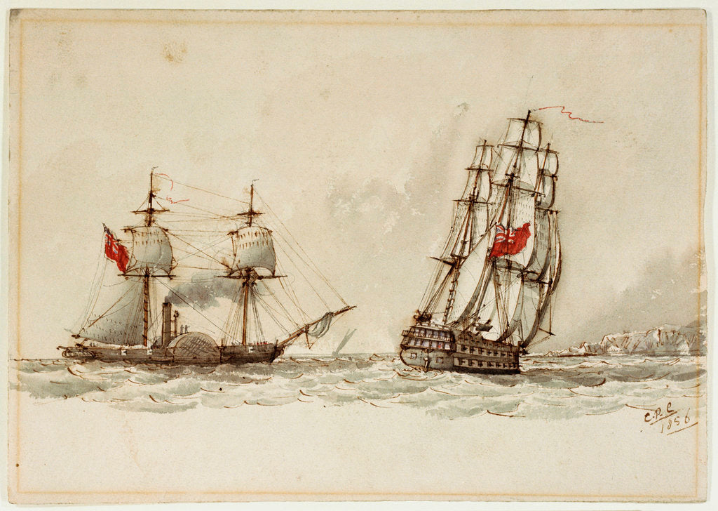 Detail of Paddle steamer and warship off a coast by Anonymous