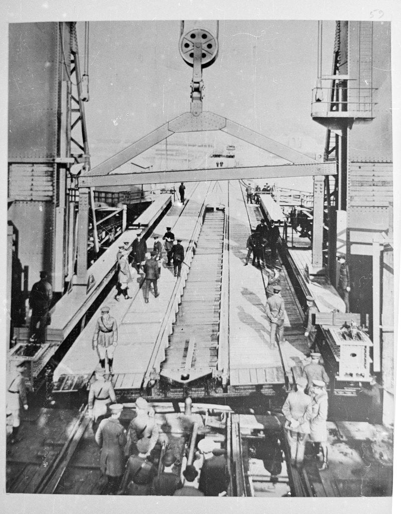 Detail of Train Ferry No. 1 (1917) Soldiers working on loading ramp by unknown
