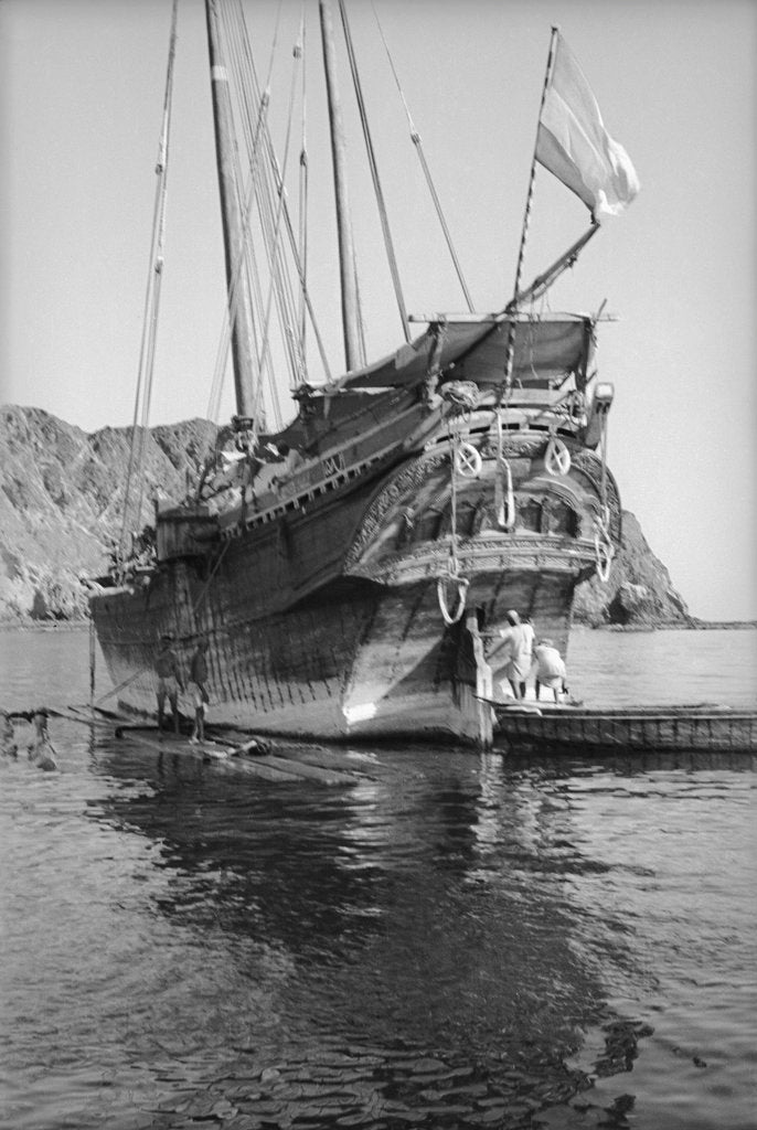 A Persian baggala at anchor off Muscat or Mutrah by Alan Villiers