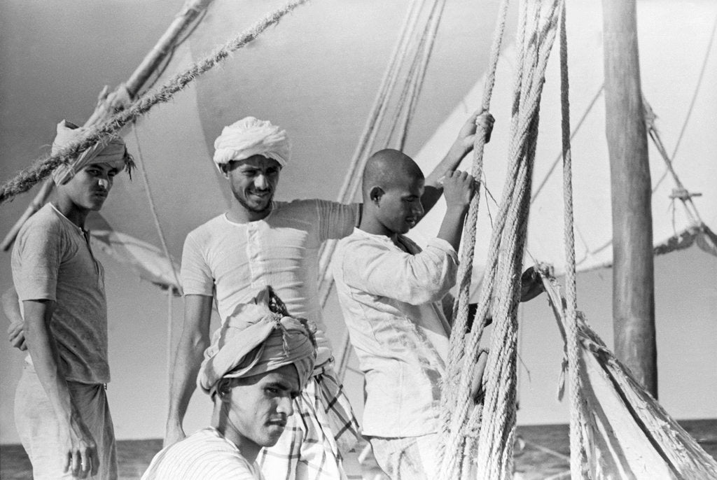Detail of Captain and crew of the 'Sheikh Mansur' by Alan Villiers