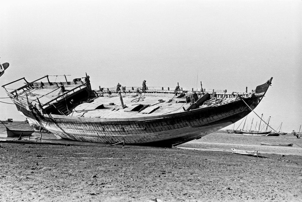 Detail of Decorated stern and deck hull of a large sambuk, beached at Aden by Alan Villiers