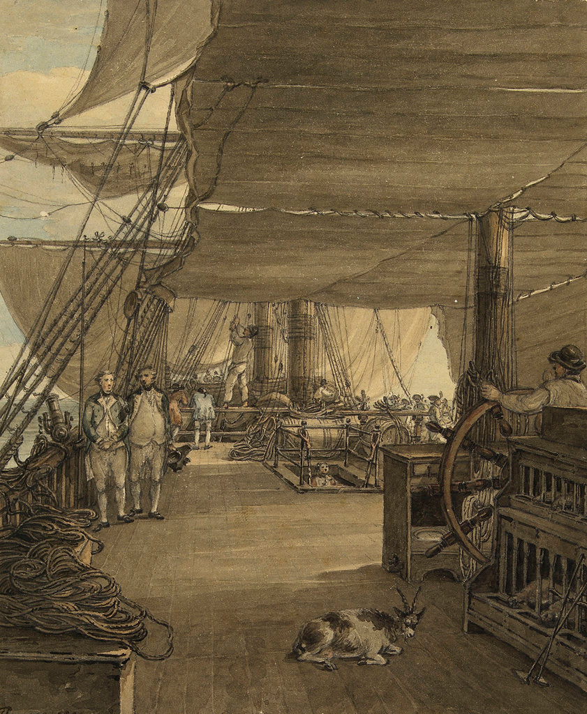 Detail of A scene on board HMS 'Deal Castle', Captain J. Cumming, in a voyage from the West Indies in the year 1775 by Thomas Hearne