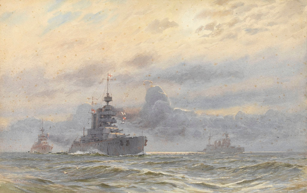 Detail of HMS 'Princess Royal' and New Zealand by Alma Claude Burlton Cull