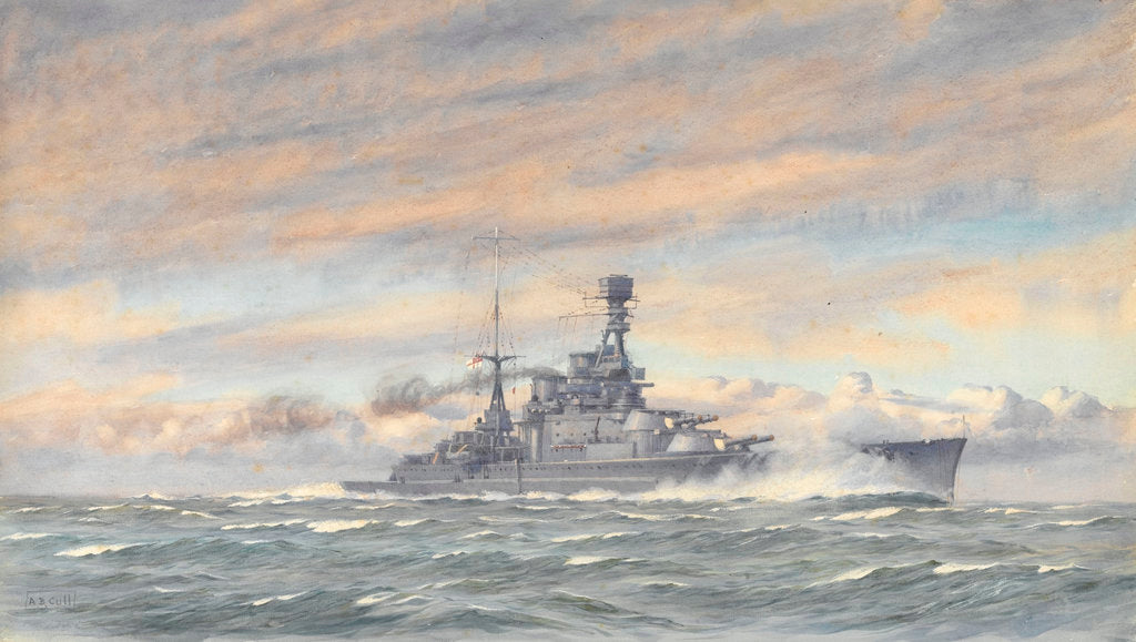 Detail of Unidentified battleship at sea by Alma Claude Burlton Cull