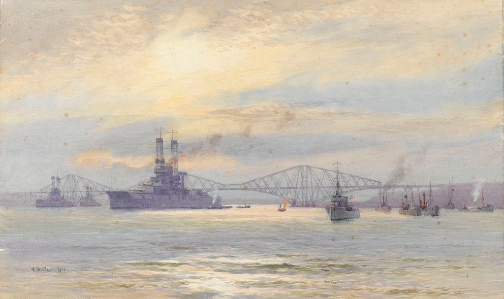 Detail of American battleship in the Firth of Forth by Alma Claude Burlton Cull