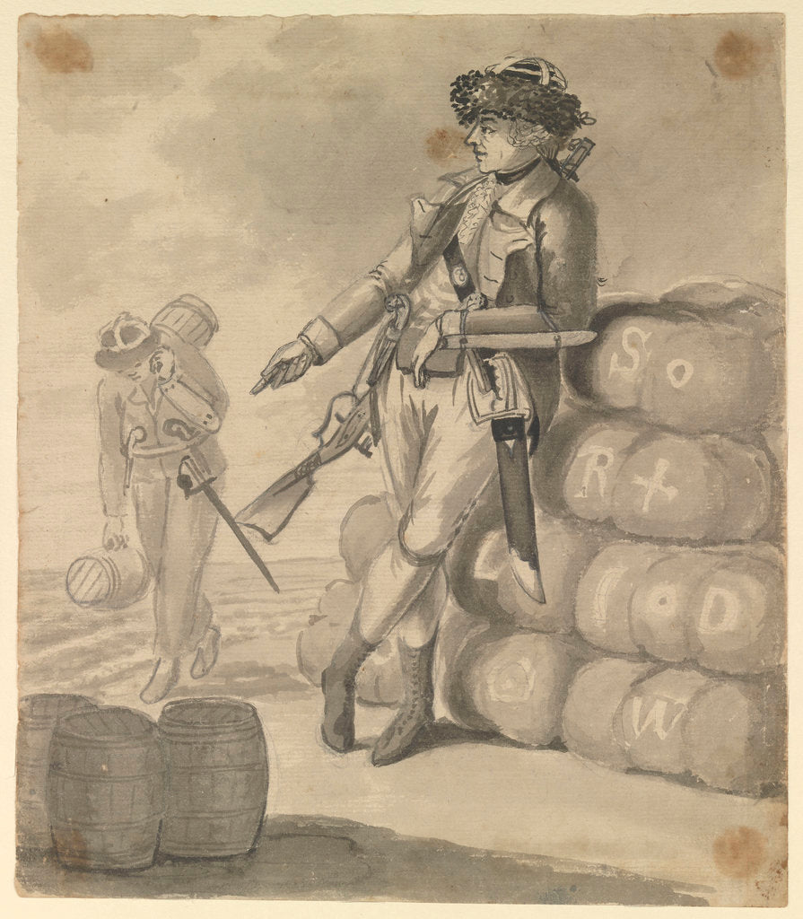 Detail of A Marine leaning on a pile of bales, with a seaman carrying kegs in the background by Gabriel Bray